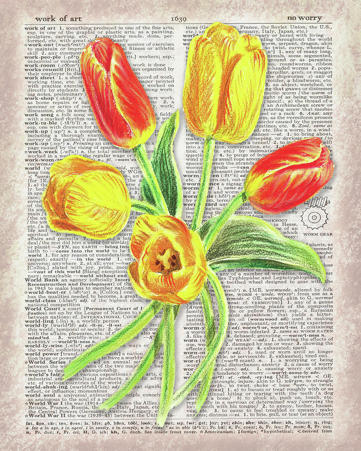 Tulip Bouquet Dictionary Page Watercolor   by Irina Sztukowski