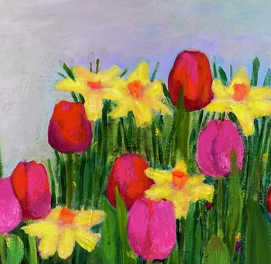 Colorful Painting - Tulips and Daffodils by Margot Sappern