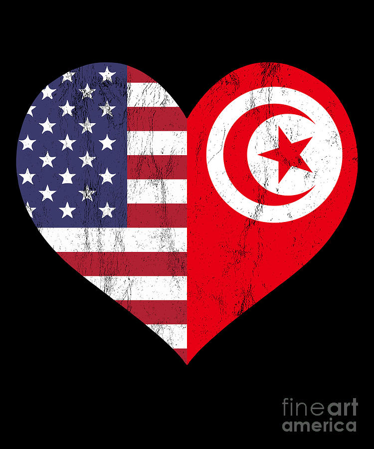 Tunisian American Flag Usa Tunisia Love Heart Flag Drawing By Noirty Designs