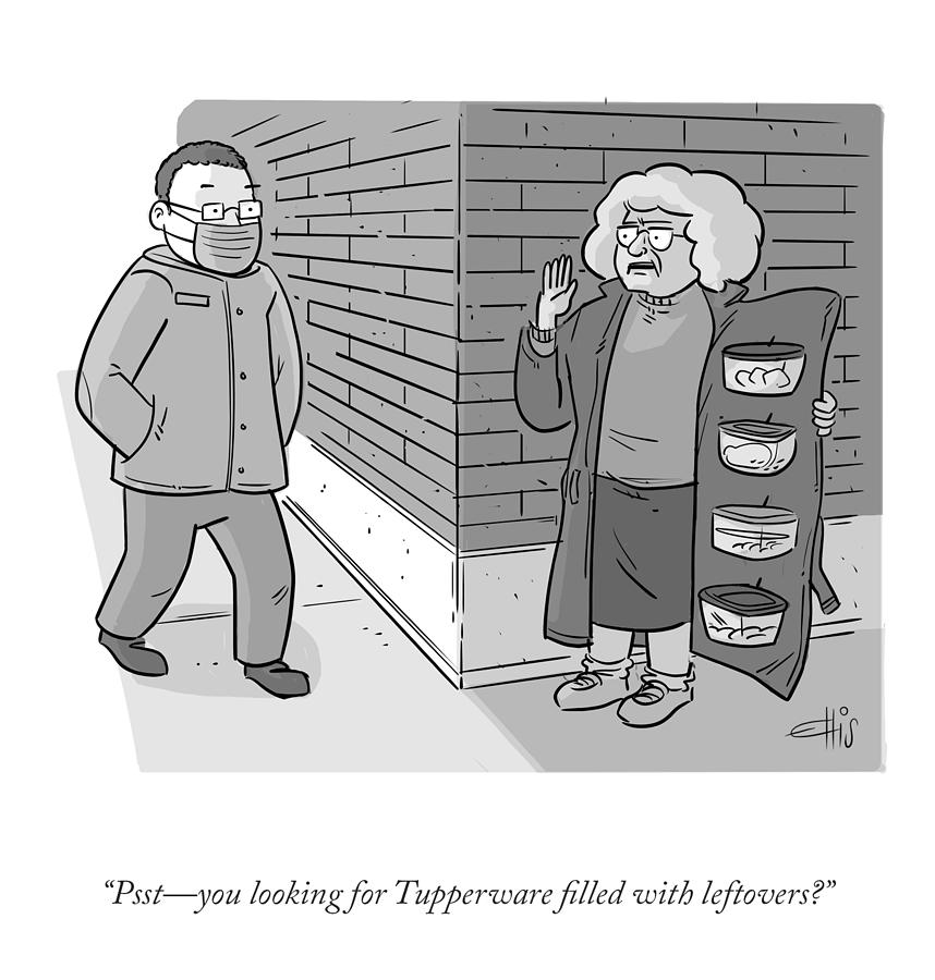 Tupperware Filled With Leftovers Drawing by Ellis Rosen