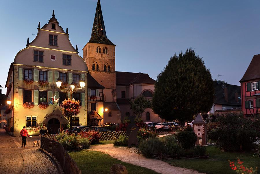 Turckheim town hall and Saint-Anne church at nightfall by RicardMN Photography