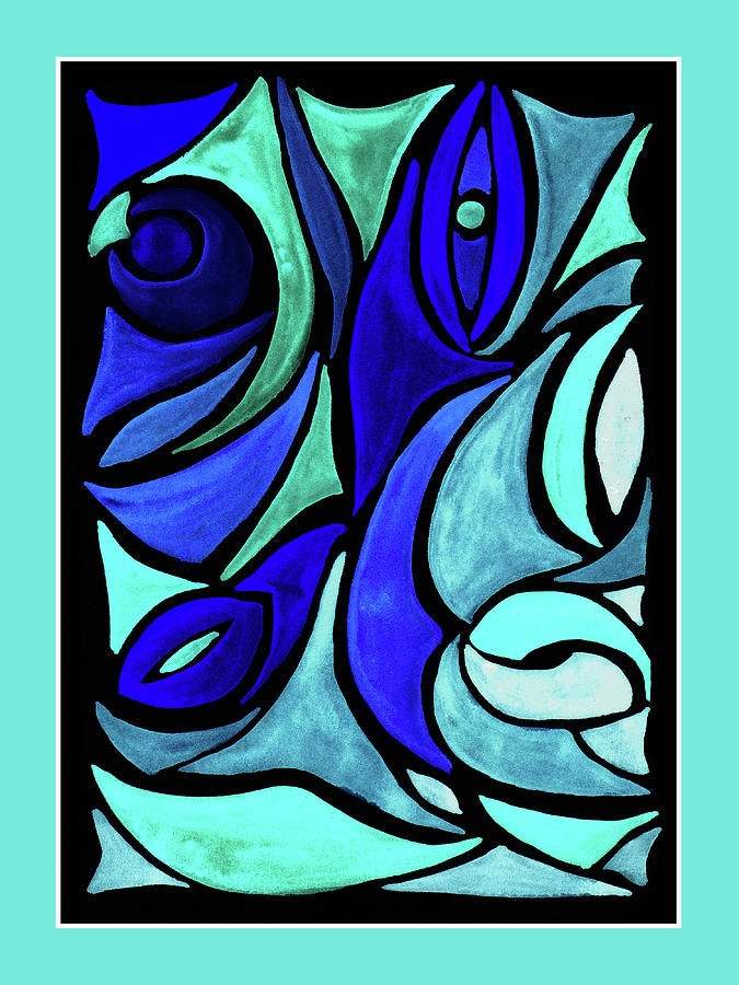 Turquoise And Blue Organic Abstract Stained Glass Painting