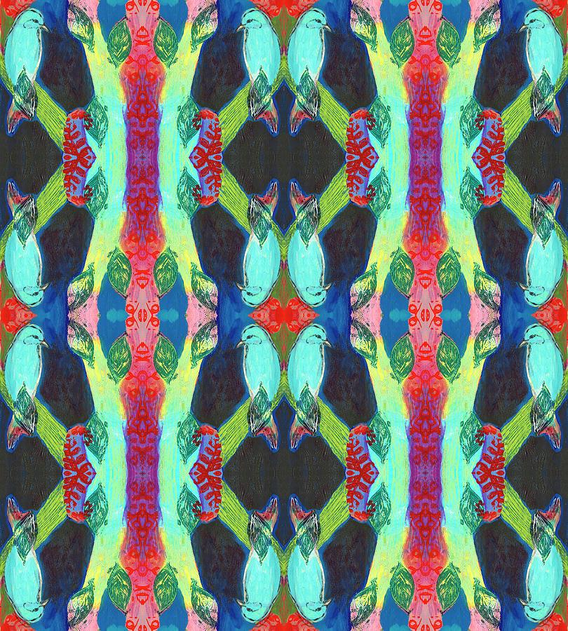 Turquoise Bird Pattern Digital Art