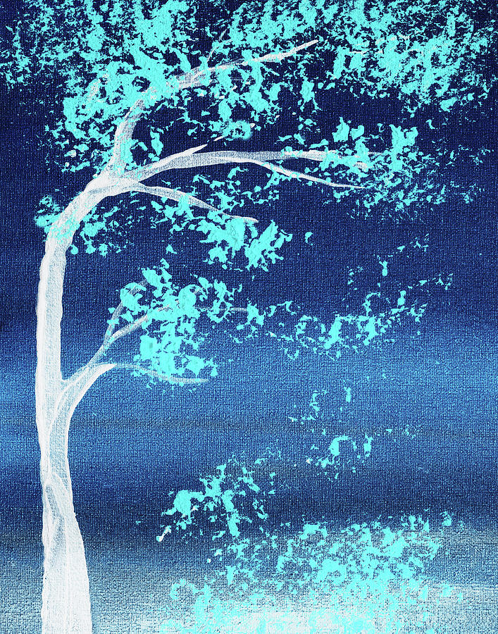 Turquoise Breeze Blue Wind Abstract Tree Nature Decorative Art Painting