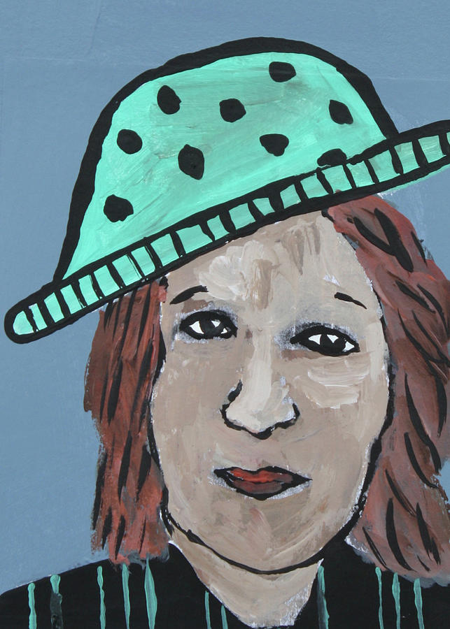 Altered Book Mixed Media - Turquoise Hat with Black Dots by Janyce Boynton