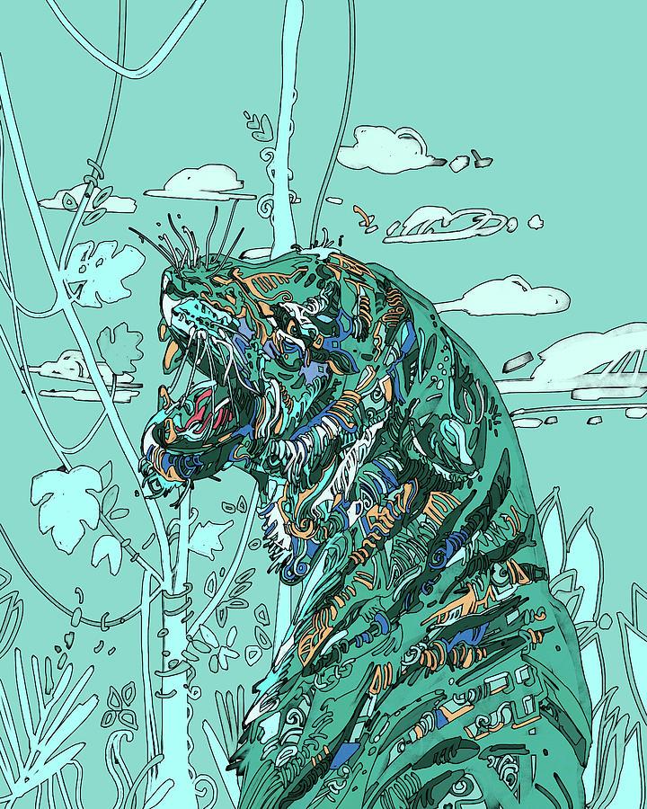 Turquoise Tiger Digital Art