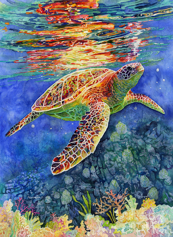 Turtle Reflections Painting