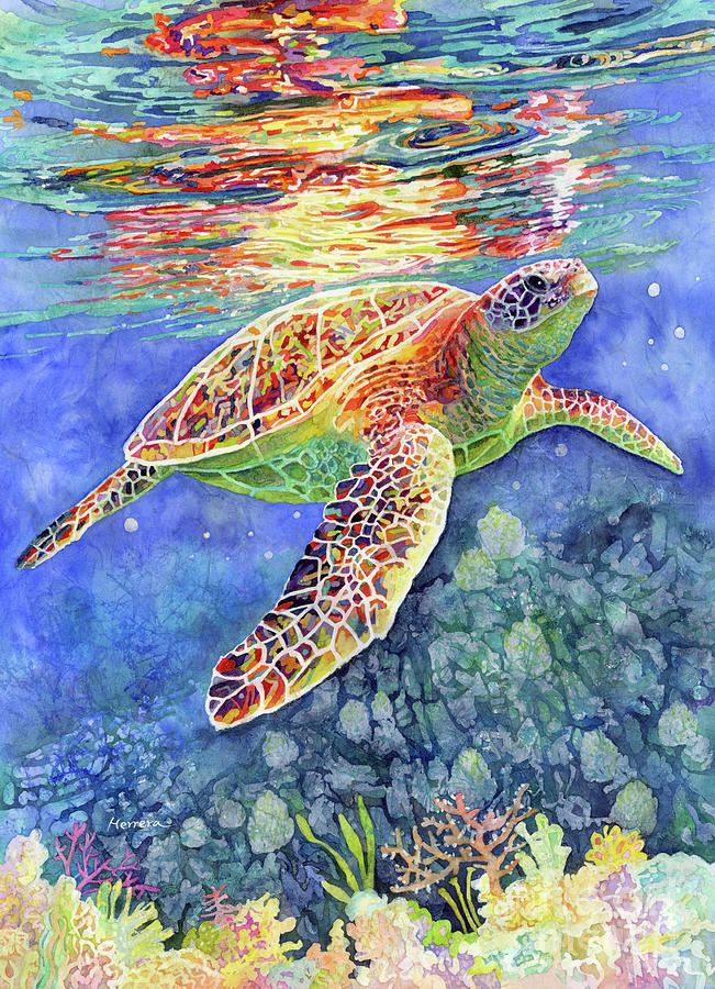 Turtle Painting - Turtle Reflections-pastel colors by Hailey E Herrera