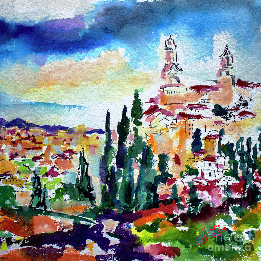 Tuscany Siena Town Watercolor Painting by Ginette Callaway