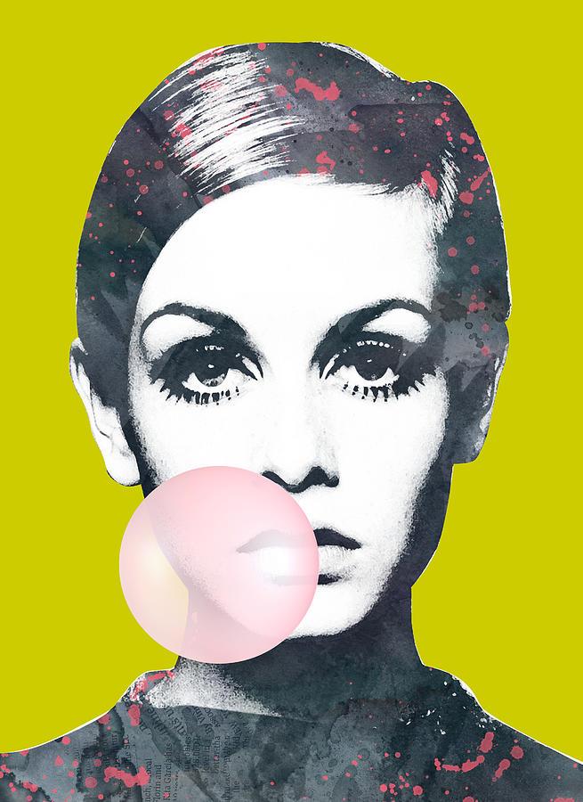 Twiggy With Bubble Gum Digital Art