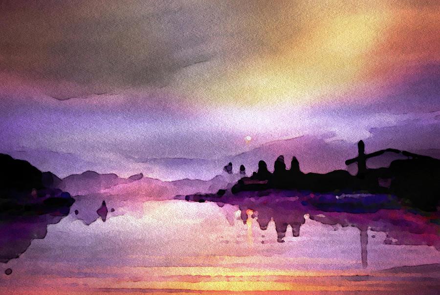 Twilight On The River Mixed Media