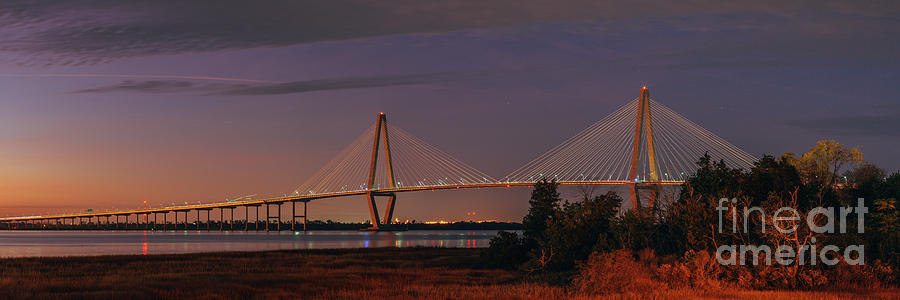 Twilight Panorama of Arthur Ravenel Jr. Bridge from Patriot's Point - Charleston South Carolina  by Silvio Ligutti