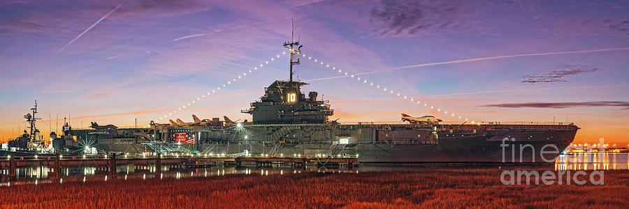Twilight Panorama of USS Yorktown at Patriot's Point - Mount Pleasant Charleston - South Carolina by Silvio Ligutti