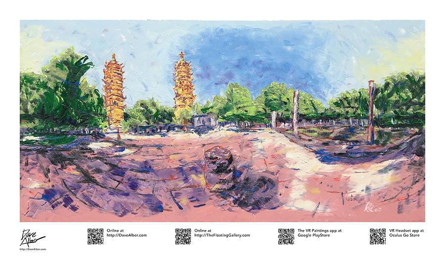 Travel Painting - Twin Pagodas, Suzhou Pagoda, Suzhou Panoramic, Suzhou 360, Panor by Dave Alber