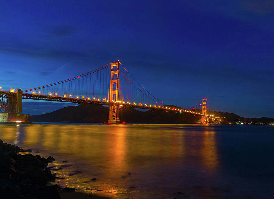 Twinkling Lights Golden Gate Bridge Photograph