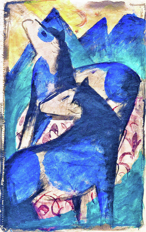 Franz Marc Painting - Two Blue Horses - Digital Remastered Edition by Franz Marc