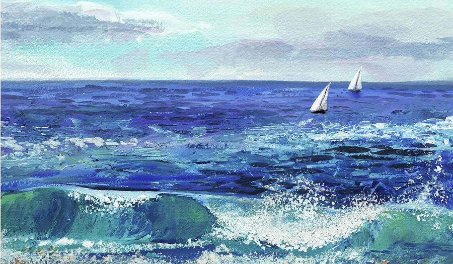 Two Boats In The Ocean Sea Waves Breeze Painting