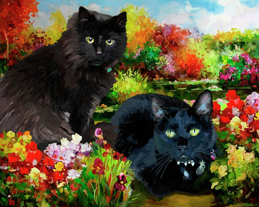 Two Cats In A Garden Painting