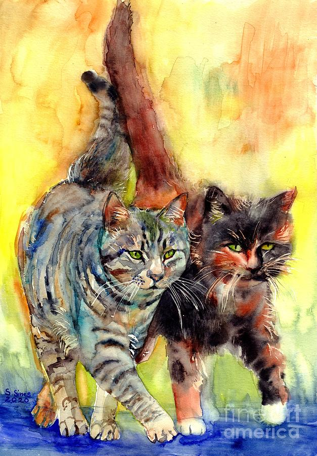On The Prowl Painting - Two Cats On The Prowl by Suzann Sines