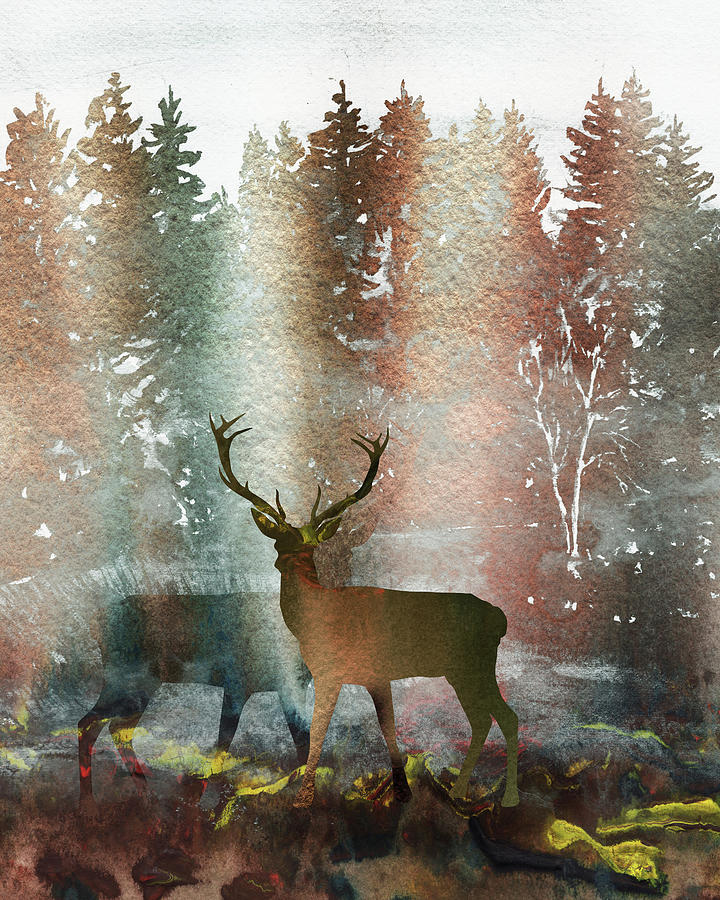 two deer bucks in the fall forest watercolor silhouette painting by irina sztukowski two deer bucks in the fall forest watercolor silhouette by irina sztukowski