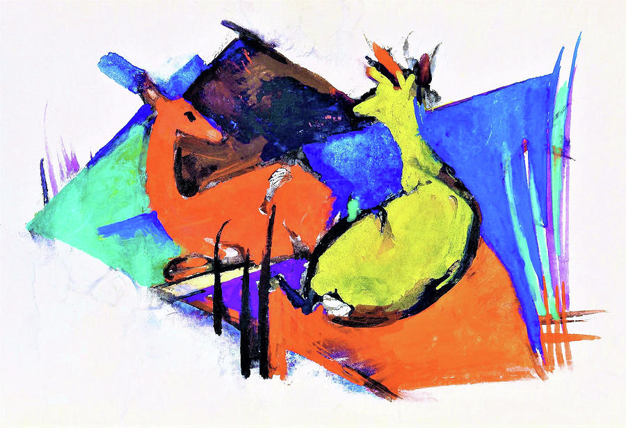 Deer Painting - Two Deer Lying Down - Digital Remastered Edition by Franz Marc