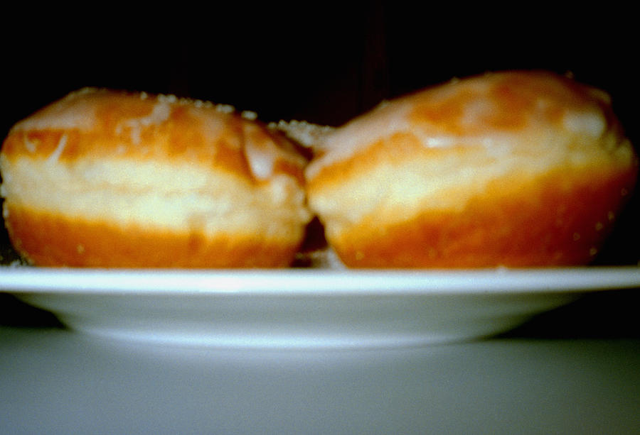 Two Doughnuts On A Plate Photograph by Heidi Specker