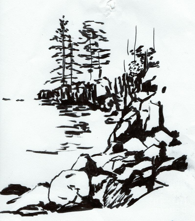 Black And White Painting - Two Harbors, Minnesota by Tammy Nara
