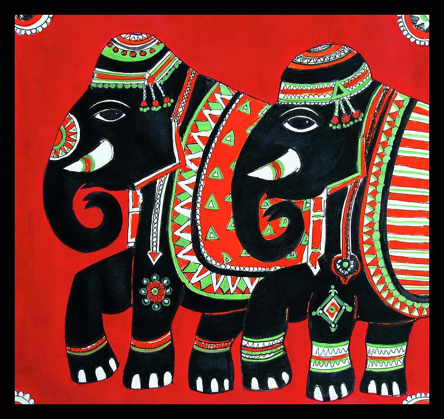 Two Indian Elephants by Asha Sudhaker Shenoy