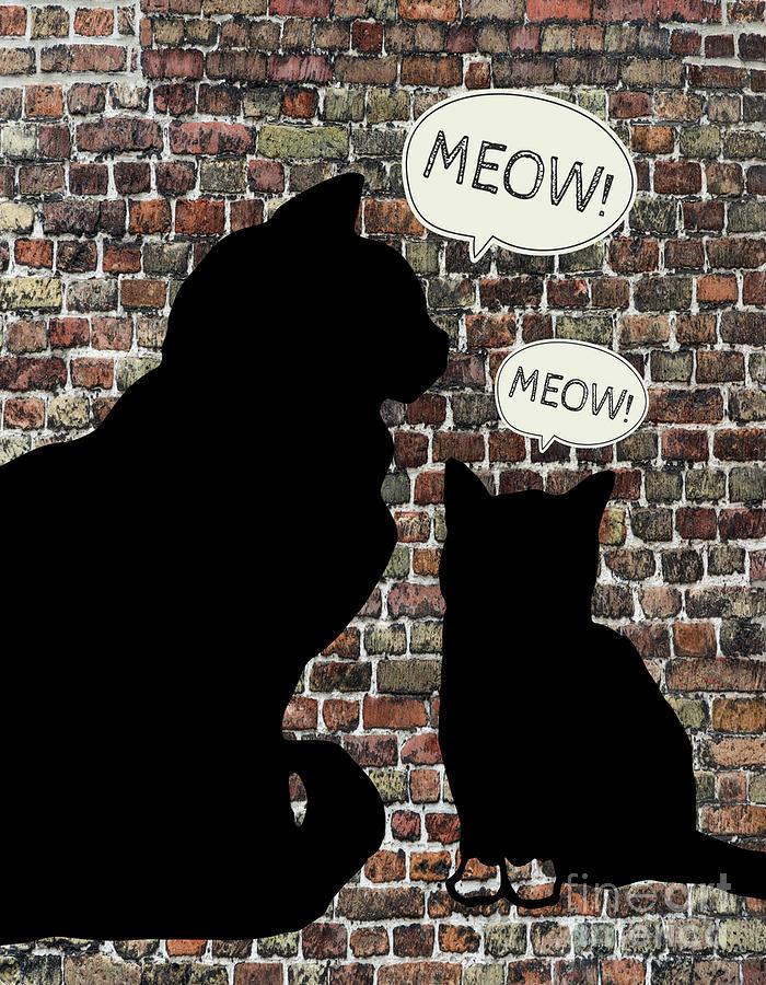 Cats Mixed Media - TWo Meows by PurrVeyor Com