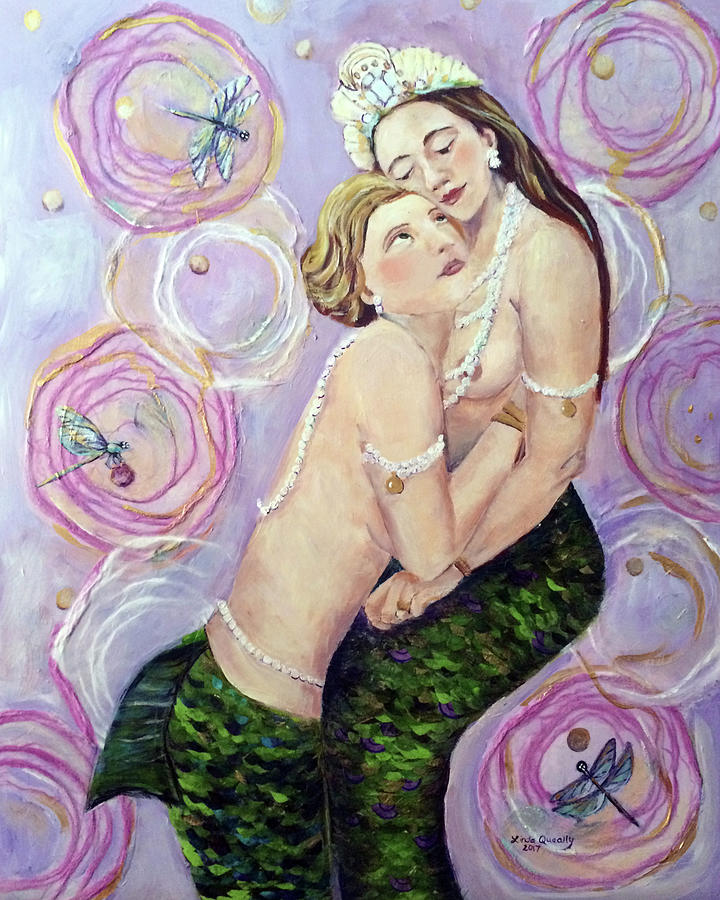 Mermaid Painting - Two Mermaids in Pink by Linda Queally
