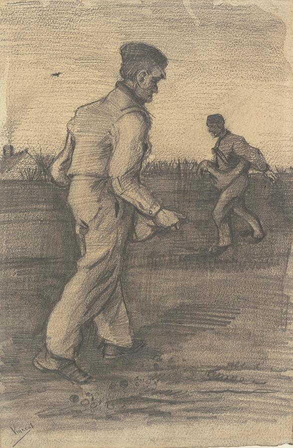 Two Sowers The Hague December 1882 Vincent Van Gogh 1853  1890 Painting