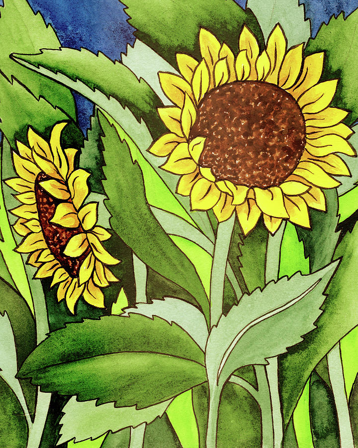 Two Sunflowers Under The Tuscan Sun Painting