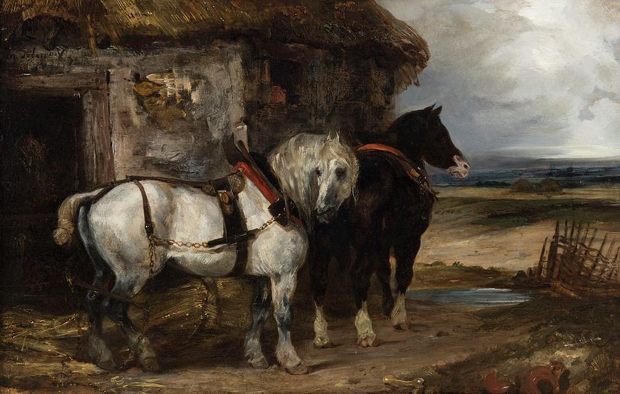 Two Workhorses Eugene Delacroix Charenton Saint Maurice 1798  Paris 1863 Painting