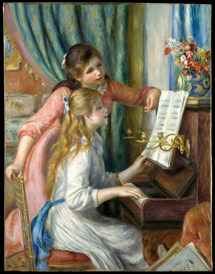 Two Young Girls At The Piano  Auguste Renoir French Limoges 1841 1919 Cagnes Sur Mer Painting