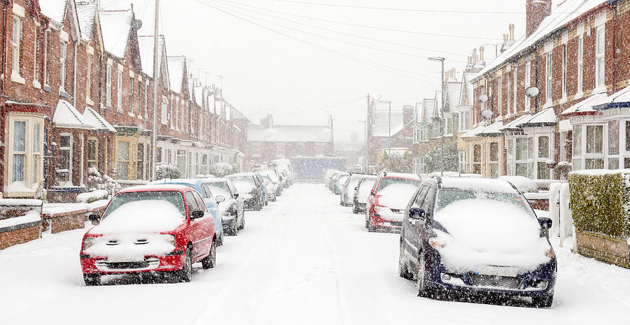 Typical UK street in winter snow Photograph by ChrisHepburn