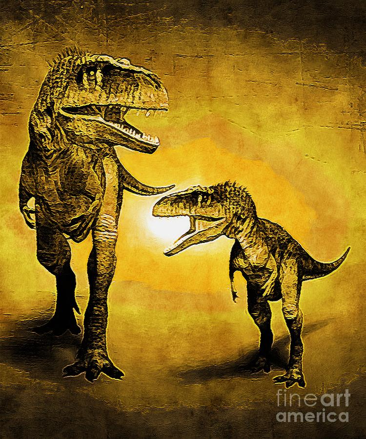 Tyrannosaurus Dinosaur With A Yellow Effect Digital Art