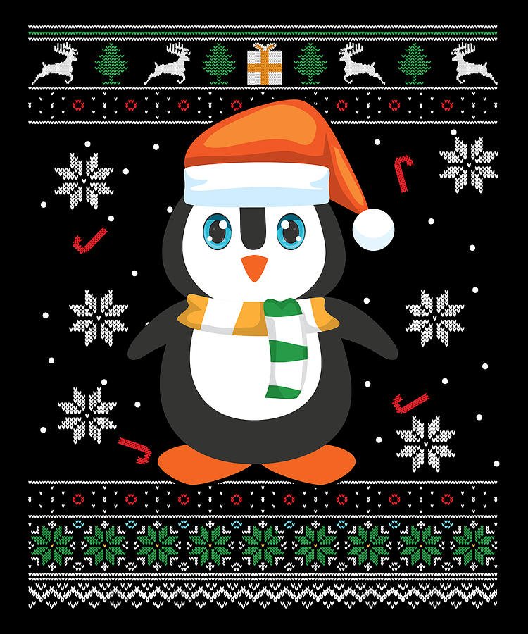 Stocking Stuffer Digital Art - Ugly Penguin Christmas Cute by Michael S