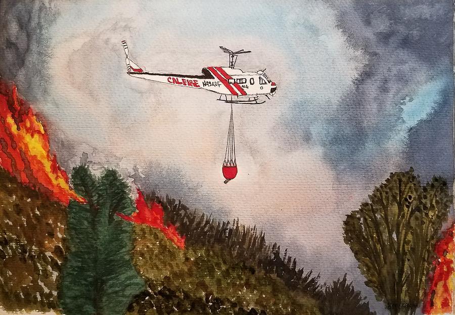 Cal Fire Mixed Media - UH-1H Super Huey by Bonnie McKeegan