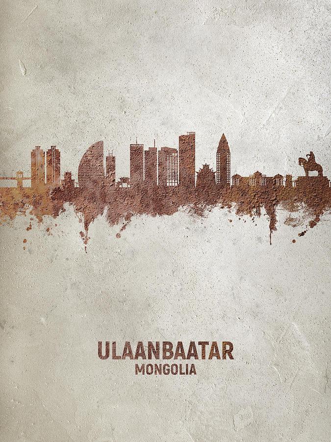 Ulaanbaatar Digital Art - Ulaanbaatar Mongolia Skyline #84 by Michael Tompsett