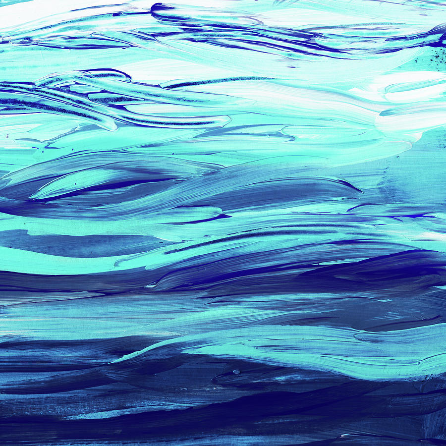 Ultramarine Blue And Turquoise Waves Of The Ocean Painting