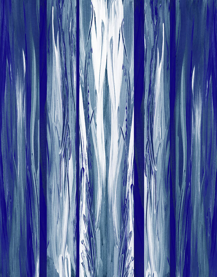 Ultramarine Blue Waterfall Abstract Painting Decor Painting