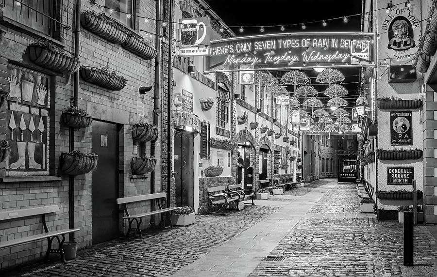 Belfast Photograph - Umbrella Street in Belfast - Black and White by Barry O Carroll