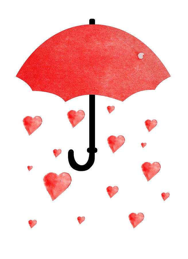 Umbrella With Red Hearts Digital Art