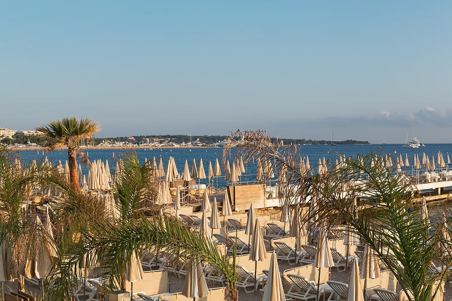 Umbrellas and beach chairs on the beach, Cannes, French Riviera Photograph by Jean-Marc PAYET