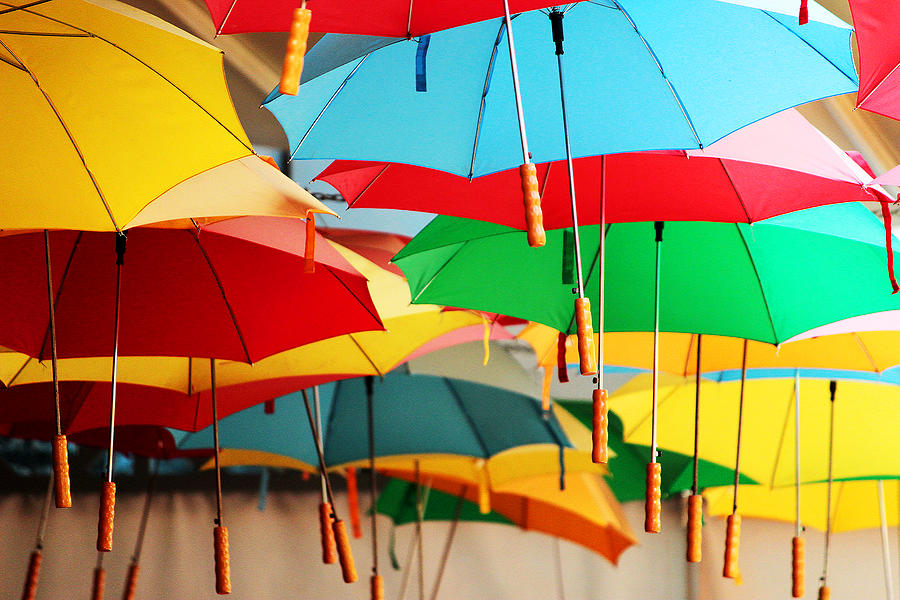 Umbrellas suspended from ceiling Photograph by Gregoria Gregoriou Crowe fine art and creative photography.