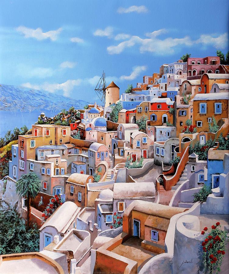 Un Mulino A Santorini Painting