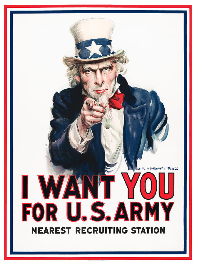 Ww2 Painting - Uncle Sam - I Want You - James Montgomery Flagg - 1917 by War Is Hell Store