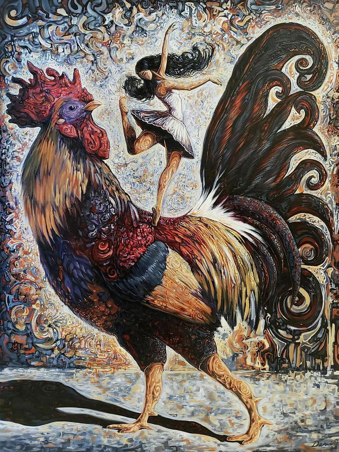 Rooster Painting - Unconditionalism by Darwin Leon