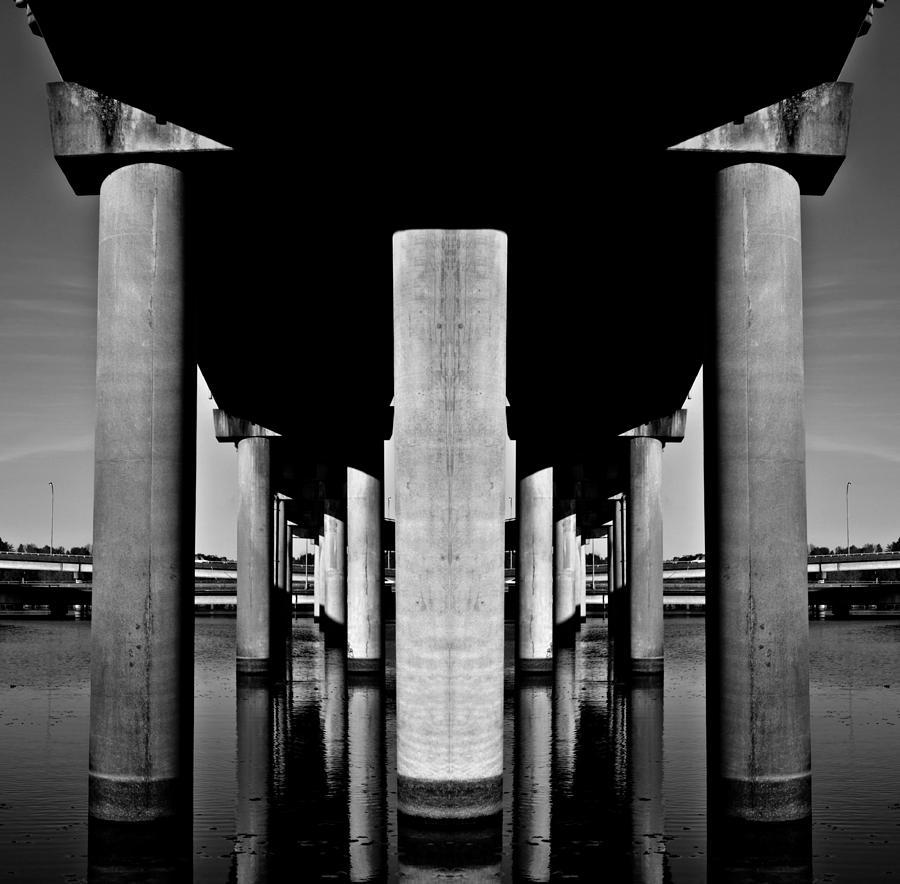 Under Bridge Reflection Digital Art
