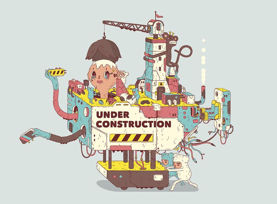 Under Construction Drawing by Bulentgultek